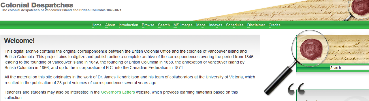 Colonial Despatche – The colonial despatches of Vancouver Island and British Columbia 1846-1871