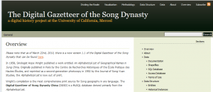 The Digital Gazetteer of the Song Dynasty. A digital history project at the University of California, Merced