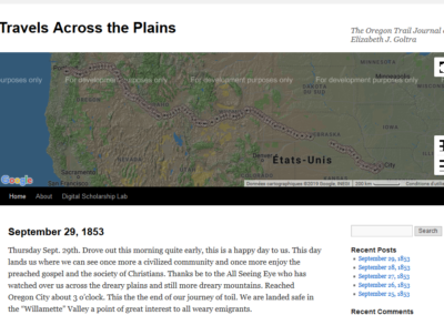 Travels Across the Plains : The Oregon Trail Journal of Elizabeth J. Goltra