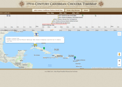 19th-Century Caribbean Cholera Detail Map